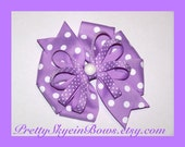 Large Layered Boutique Hair Bow Clip Pinwheel in Lavender