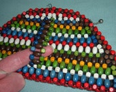 Vintage 30s Art Deco Czech Wooden Beaded Clutch Purse Bag Triangle w Finger Handle Rare