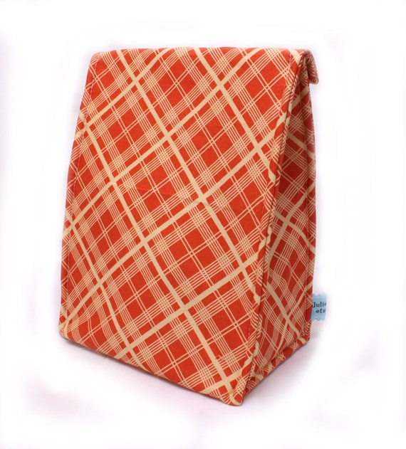 Orange Plaid Back to School Insulated Lunch Bag