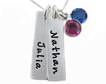 Hand Stamped Jewelry - Mothers Keepsake Necklace with birthstones - TWO rectangle NAME Charms (NN005)