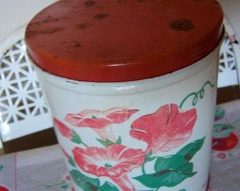 1960's kitchen tin with polka dots