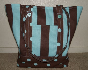 Brown and French Blue Bag  - Tote - Market - Travel -  Beach - CarryAll