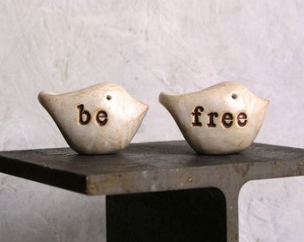 Handmade rustic clay gift ... Be Free ...Two handmade polymer clay birds ... Word Birds