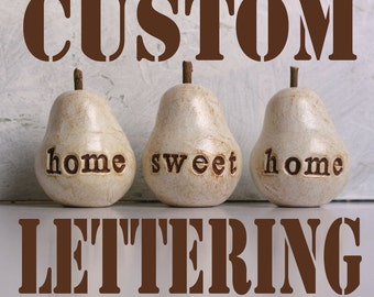 Custom gifts for her / Three personalized custom text pears / bespoke words / Christmas gift for her