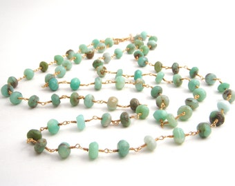 Peruvian Blue Opal Strand Necklace, Rosary Style, Gold, Mint Green, Double Strand, Wire Wrapped