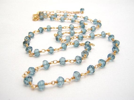 London Blue Topaz Quartz Rosary Necklace - Wire Wrapped - Ocean Blue - Gold