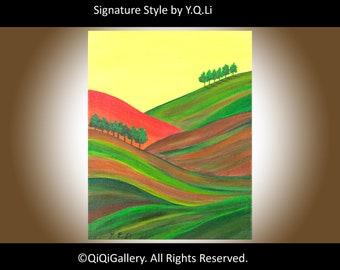 "Oil Painting contemporary landscape painting wall art wall decor home decor canvas art Original art ""Autumn Hills"" by QIQIGALLERY"
