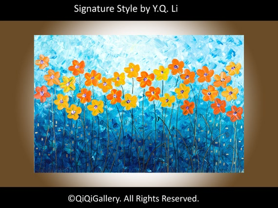 "Abstract Landscape Handmade Painting Original Palette Knife Gallery Wrapped Canvas poppy Painting ""Evening poppy"" by qiqigallery"