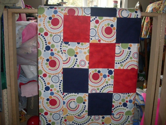 Patchwork Blanket - Dots In A Circle Baby Boy Blanket