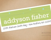 Personalized Labels - Line and Dots, Your Choice of Color