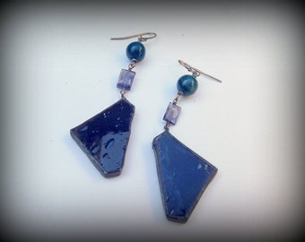 Deep Blue Stained Glass Silver Iolite Apetite Earrings Deep Sea