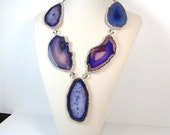 Statement necklace Agate Geode Druzy Lilac Purple Crystal Rock Gemstone Long Agate Necklace
