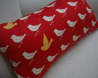 Shabby Chic Pillow/Birds/French Cottage/Shabby Chic Red/Nursery/Bedroom/Decorative Pillow/Lumbar/Throw Pillow/Coastal Decor