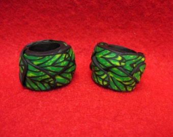 Dread Beads Green Leaves Set of 2   You Choose Hole Size