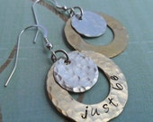 Personalized Hoops - Hand-Stamped Custom Earrings - Silver and Brass - E102