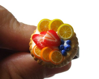 Fruit Tart Ring, Nickel Free, polymer clay jewelry, Miniature Food