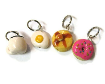 Breakfast Stitch Markers, Charms, Set Of 4 - Coffee, Egg, Pancakes and Donut