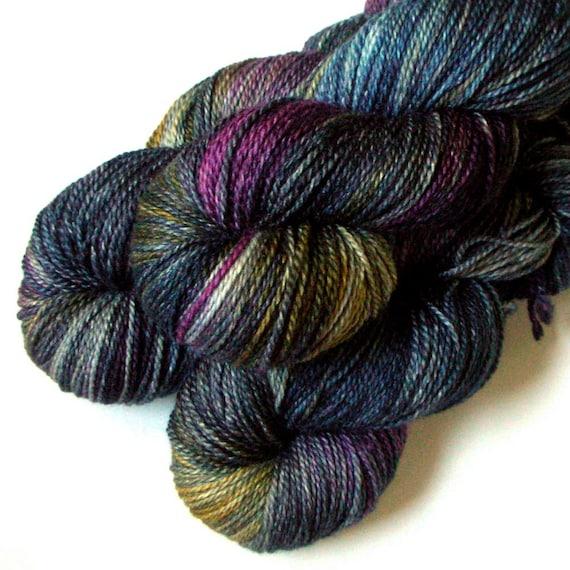 Silk/Merino 50/50 Heavy Fingering Yarn - Steel Butterfly, 370 yards