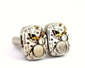 Steampunk Cuff links - Gorgeous Vintage HAMILTON Mens Clockwork CuffLinks Design - PROMPTLY SHIPPED - Steampunk Jewelry  London Particulars