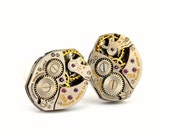 Steampunk Cuff links - Gorgeous BULOVA Mens Clockwork CuffLinks Design - PROMPTLY SHIPPED - Steampunk jewelry by London Particulars