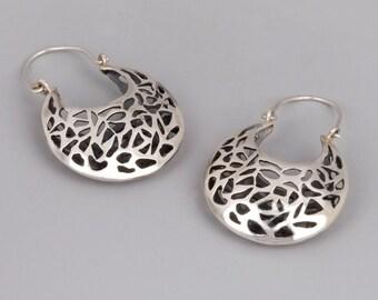 Oxidized Silver Earrings, Chunky Earrings Silver, Moroccan Earrings, Filigree Earrings, Silver Lace Earrings, Boho Hoops, Victorian Earrings
