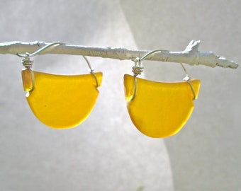 seaglass amber crescent hoop earrings