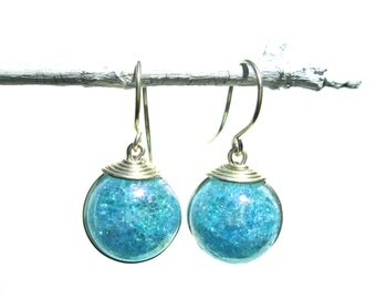 Sky Blue Iridescent Fried Marble Earrings with Silver