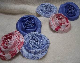 Scrapbook Flowers...6 Piece Set of Very Pretty Red White and Blue Summer Dreams Scrapbook Paper Flower Rolled Roses