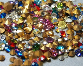 Vintage Swarovski Round Faceted Crystal Chatons Mix (10g)