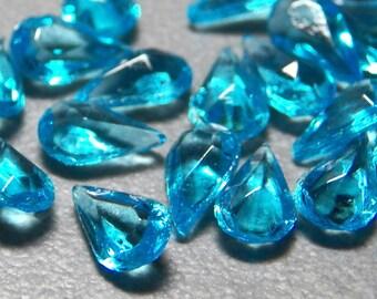 Vintage Aqua 7.8x4.5mm Faceted Pear Teardrop Glass Stones (6)