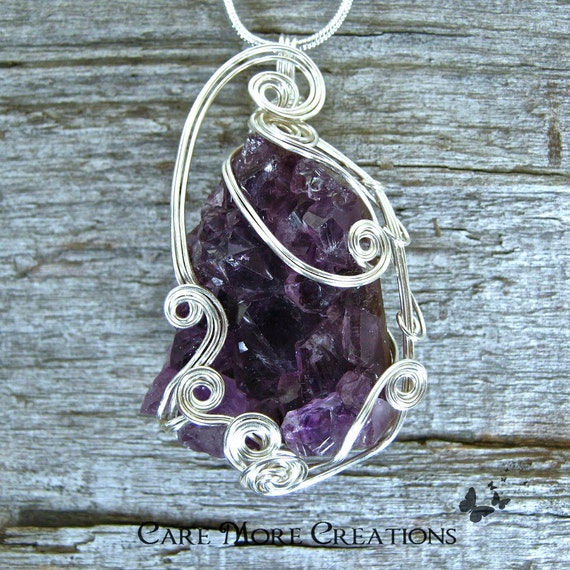 Amethyst Crystal Wire Wrapped Pendant - Purple Necklace in Silver Wire - Healing Gemstone