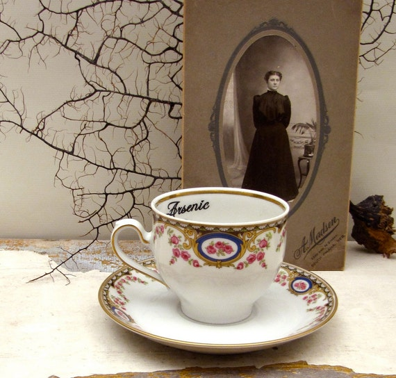 Vintage Meissen Poison tea cup and saucer Halloween Party Decoration Vintage altered plate Arsenic