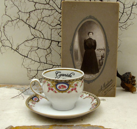 Vintage Meissen Cyanide Poison tea cup and saucer Gothic Halloween Vintage Restyled and Altered Dishes