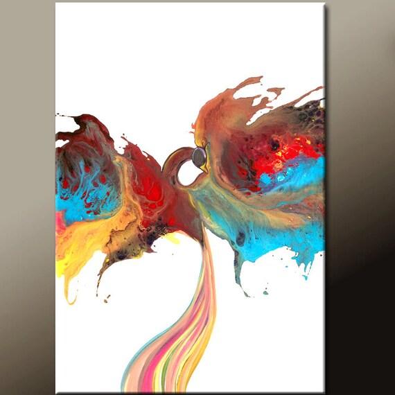 Abstract Canvas Art Painting 36x24 Original Contemporary Bird Art by Destiny Womack - dWo - Reborn