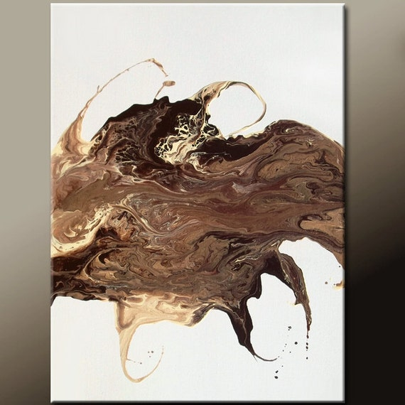 Abstract Canvas Art Painting Chocolate Brown 18x24 Original Fine Art by Destiny Womack - dWo - The Soul