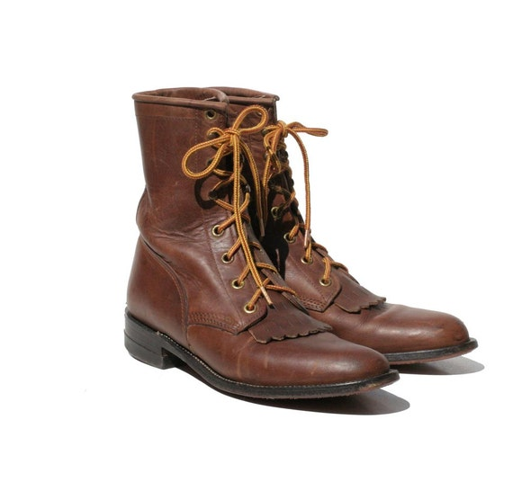 RESERVED Chocolate Brown JUSTIN Leather Ankle Boots size 7.5