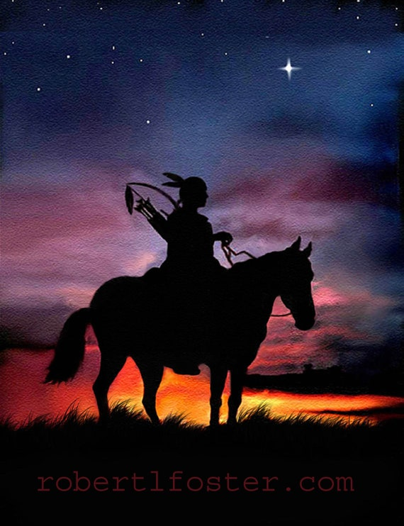 Indian art, western art, indian brave, native American, sunset, sunrise, print, painting, indian warrior, horseback, riding, bow and arrow,