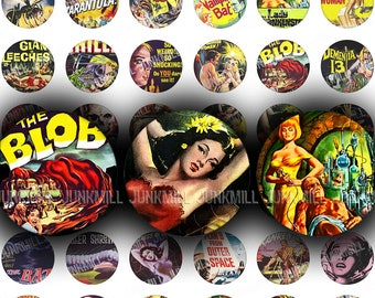 "CULT CLASSICS - Digital Printable Collage Sheet - Retro Science Fiction, Horror & Monster Movies, 1"" Circle, 25 mm Round, Instant Download"