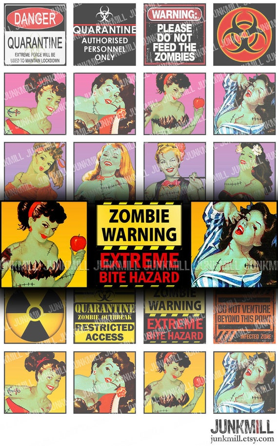 """ZoMBIE GIRLS - Digital Printable Collage Sheet - Retro Undead Pin-Ups, Zombiepocalypse, 1"""" Square or Scrabble Tile, Instant Download"""