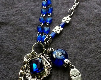 Blue Crucifix protector eye inspire necklace
