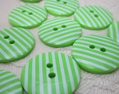 10 Candy Striped Green Buttons
