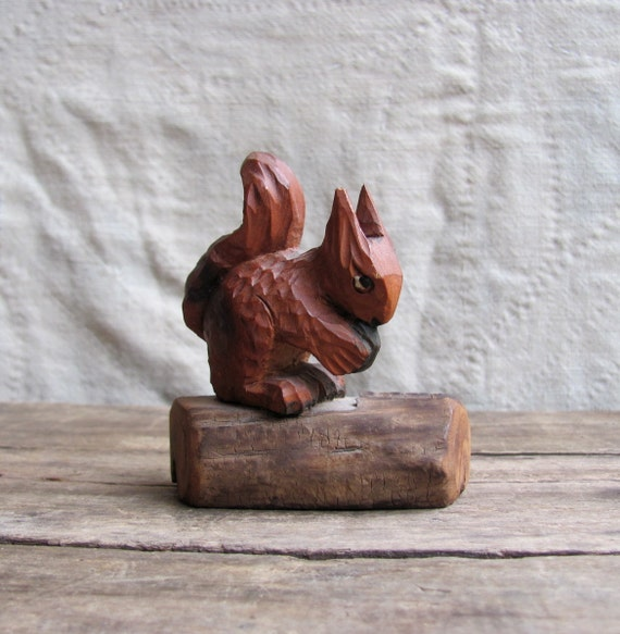 vintage c. 1960s-80s carved wood red squirrel with nut