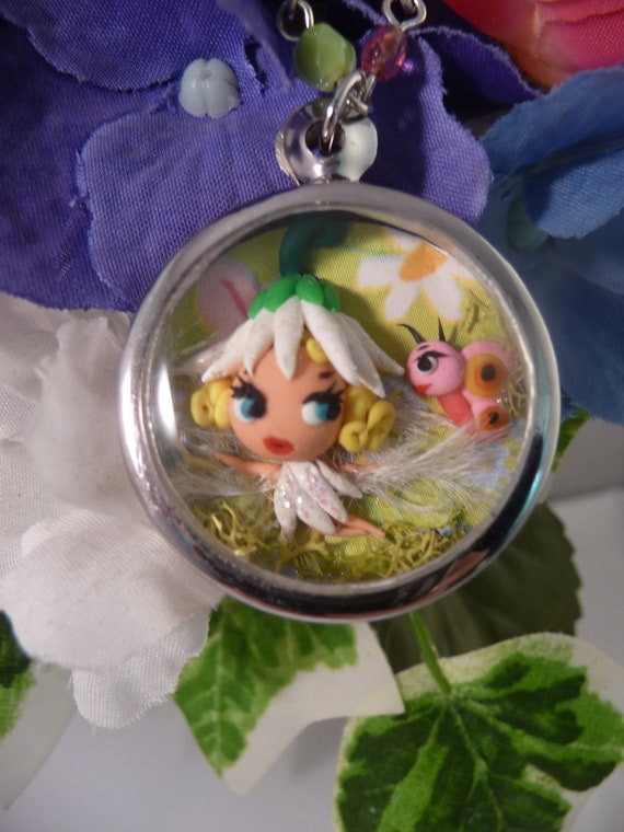 Reserved for Andrea Partial Payment OOAK Flower Fairy w Butterfly Mixed Media Art Shadowbox Pendant