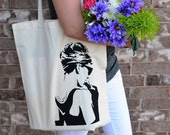 Audrey Hepburn Breakfast At Tiffany's Hand Printed Tote Bag