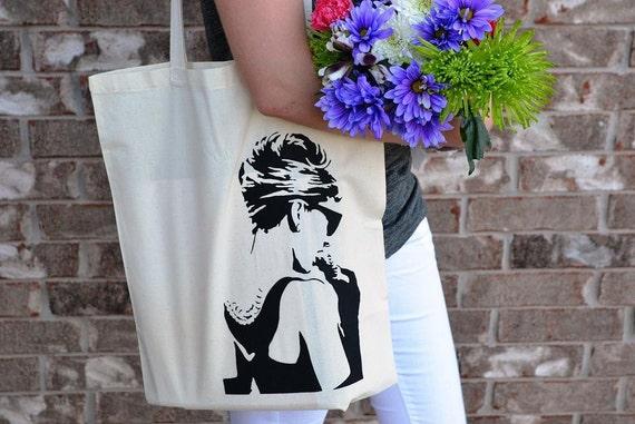 Audrey Hepburn Breakfast At Tiffany's Hand Printed Tote Bag