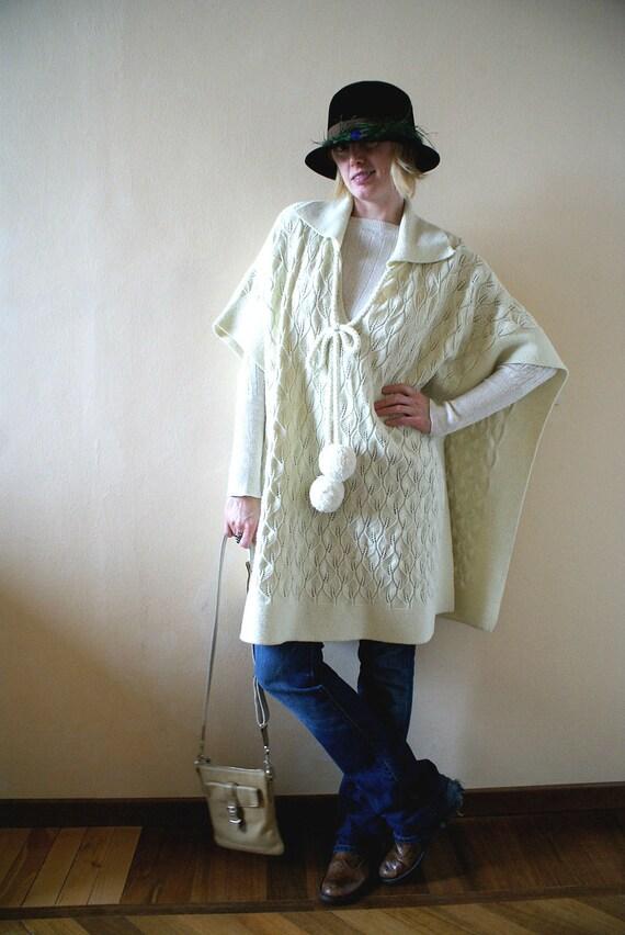 Unique Cream Leaf Knit Poncho with Large Pom Poms