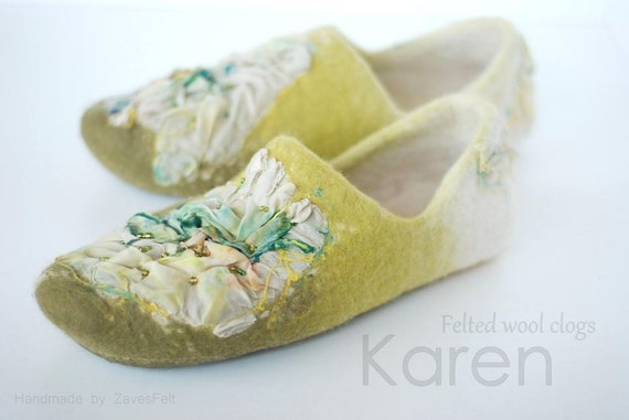 READY to SHIP Felted slippers KAREN with nunofelted silk, size 40, Us10