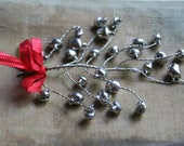 Whimsical Silver Jingle Bell Decorating Sprays for the Holidays - Christmas Garland Bells - Silver Jingle Bell Decoration