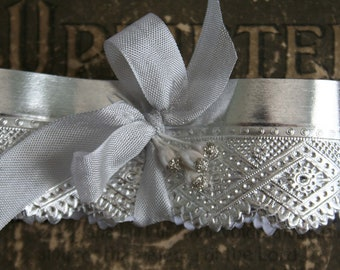 Silver Foil Paper Lace 36 Inches German - Easter Egg Decorating Trim - Metallic Silver Foil Embossed Paper Trim
