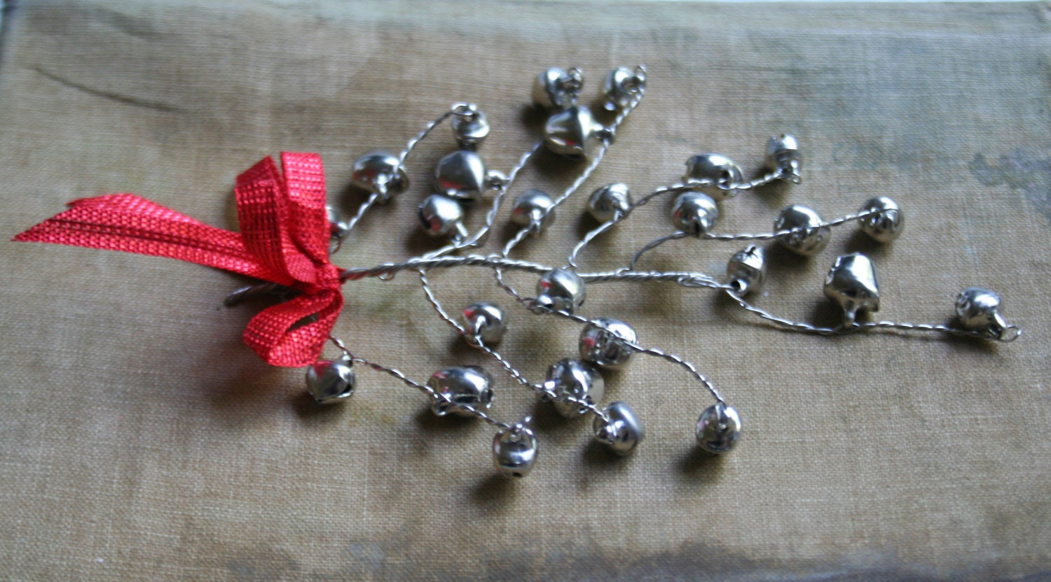 Jingle Bell Garland Whimsical Silver Jingle Bell Decorating Sprays For The Holidays